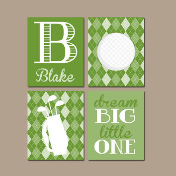 GOLF Wall Art CANVAS Or Prints Argyle Pattern Baby Boy Nursery Boy Bedroom  Golf Theme
