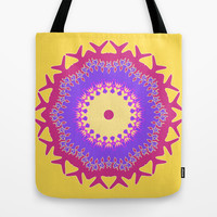 Artistic pink violet floral on yellow Tote Bag by cycreation