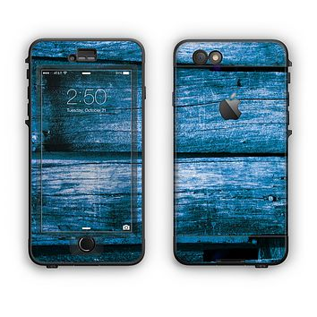 The Grunge Blue Wood Planks Apple iPhone 6 LifeProof Nuud Case Skin Set