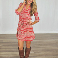 Red Printed Tunic Dress