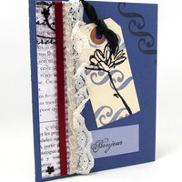 Bonjour Card - Any Occasion - French Vintage - Blue Card - Embossed Tag - Blank Card - Ivory Lace - Burgundy Ribbon