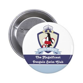 Penguin Swim Club Kids Birthday Pool Party Favor Pinback Button