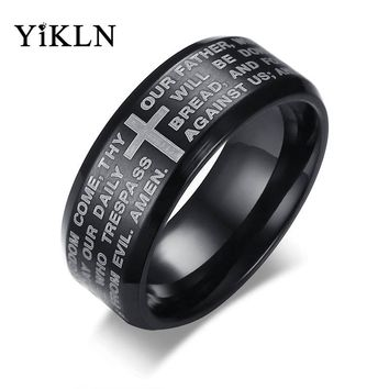 YiKLN Brand Titanium Steel Men's Rings Religious Jewelry 8MM English Lord Prayer Ring 3 Colors Optional Dropshipping Anel JR364
