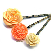 Peaches and Cream Bobby Pins set of three  FREE by lizhutnick
