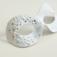 Unique Luxury Embellished Pearl & Crystal White Masquerade Mask - Masque Boutique