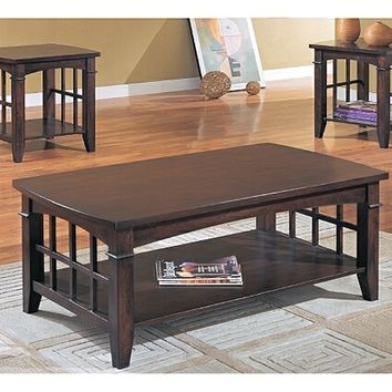 3 pc dark brown finish wood coffee table set with grid design on legs