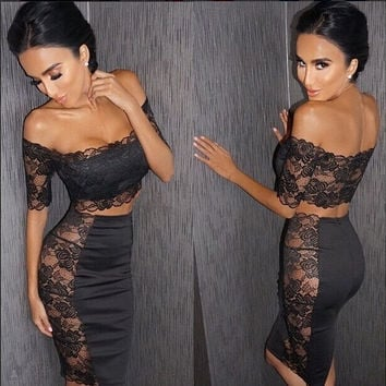 2015 new arrivals Summer Sexy Party Dresses Women black lace dress ClubWear short Sleeve 2 piece Celebrity Bodycon Bandage Dress = 1956536772