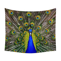 Peacock Tapestry, Feathers Color, Nature Tapestries, Nice Wall Art, Animal Print, Bedroom Gift, Elegant Bird Photo, Room Decor, Chic Bedroom