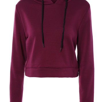 Cropped Pure Color Long Sleeve  Hoodie