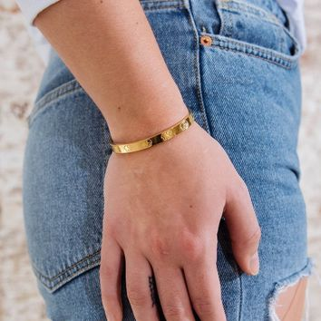 Childhood Cancer Gold Cuff Bracelet