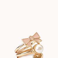 FOREVER 21 Sweet Ring Set Gold/Peach 7