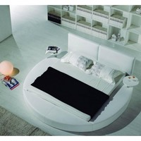 Modern Round Bed with Headboard (Multiple Colors/Sizes) | Tosh Furniture