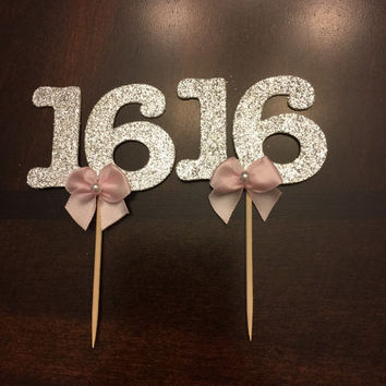 Sweet 16 Cupcake Toppers, Sweet Sixteen Cupcake Toppers, 16th Birthday, 16th Birthday Party, Sweet 16 Party Favors
