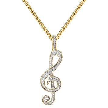 "14k Gold Finish Treble Clef Music Note Pendant 24"" Chain"