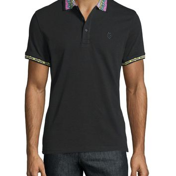 Embroidered-Trim Polo Shirt, Black/Multi