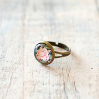 Vintage Peach Rose Ring. Adjustable Glass Dome Ring. Floral Ring.