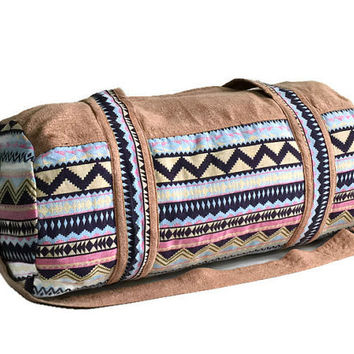 Hippy Festival Duffel bag, Indie Fashion Purse, Aztec Weekender bag for Short trip, Hipster Gym bag, Cute Round Duffle bag, Tribal inspired