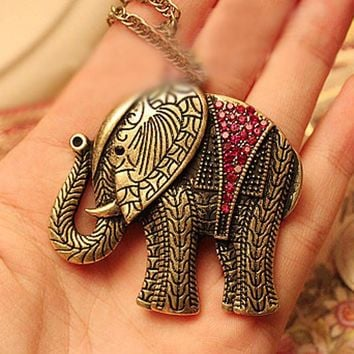 Elephant Crystal Vintage Retro Pendant necklace Chain
