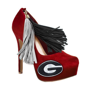 Georgia Bulldogs Pom Pom High Heel Suede Pumps by HERSTAR