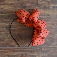 Saturday Bow - hot orange big bow headband, black polka dot bowknot