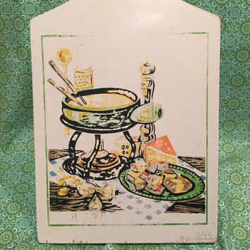 Vintage 1970's Shabby Chic Cheese Board/Fondue Scene/Colorful/Wooden Cutting Board/Rustic Kitchen/Primitive Kitchen
