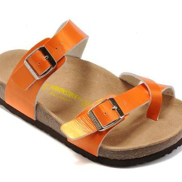 Birkenstock Summer Fashion Leather Cork Flats Beach Lovers Slippers Orange Casual San