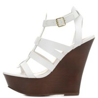 White Gladiator Platform Wedge Sandals by Charlotte Russe