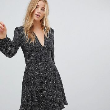 Glamorous Wrap Front Dress In Star Print at asos.com