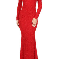 Red Textured Long Sleever Maid Maxi Dress