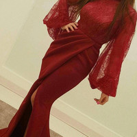 Straight Burgundy Dress Long Lantern Sleeve High Neck Lace Evening Gowns Arabic Formal Party Dress Arabische Abendkleider SAU692