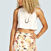 Sarah Neon Floral Print Wrap Textured Mini Skirt