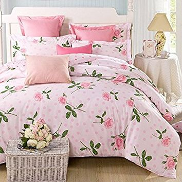 100% Pure Cotton 4-Piece Bedding Set, Printed Pink Roses Pattern Design (Full, Pink Rose)