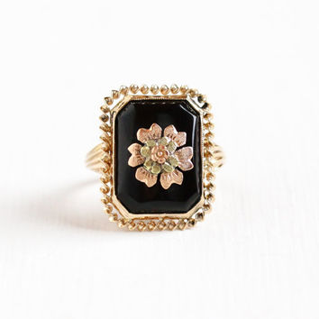 Vintage 10k Yellow & Rose Gold Simulated Black Onyx Flower Ring - Art Deco Size 5 1/2 Black Glass Floral Fine Jewelry Hallmarked Esemco