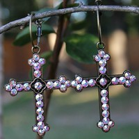 Brass Cross Earrings Covered in AB Crystals