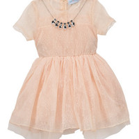 Coral Pink Lace A-Line Dress & Necklace - Toddler & Girls