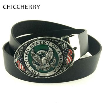 Casual Male PU Leather Belts Buckle USA Flag Eagle