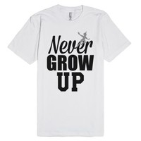 Never Grow Up Peter Pan-Unisex White T-Shirt