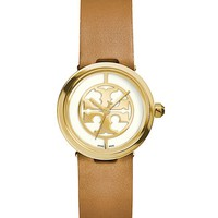 Tory Burch Reva Watch, Luggage Leather/gold-tone, 28 Mm