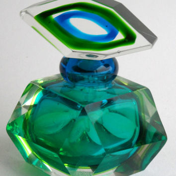 Murano Sommerso Perfume Bottle - retro modern vintage Art Glass - blue green emerald lime teal turquoise  cut crystal