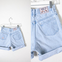 Vintage Denim High Waist Shorts / Vintage 90s Blue Jean Shorts / Light Blue Denim Shorts / Vintage High Waist Jeans / High Waisted Shorts