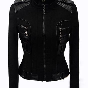Patchwork Gothic Faux Leather Jacket