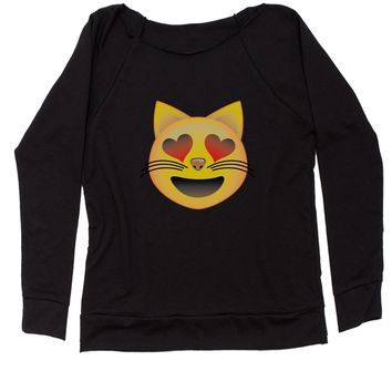 (Color) Emoticon - Heart Eyes Cat Face Smiley Slouchy Off Shoulder Oversized Sweatshirt