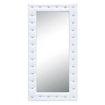 Tufted Faux Leather Mirror White