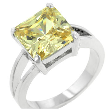 Nadine Canary Yellow Princess Cut Cocktail Ring | 5ct | Cubic Zirconia | Silver