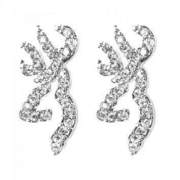 Buckmark Ice Bling Post Earrings