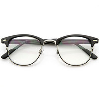 Vintage Retro Optical RX Clear Lens Half Frame Glasses +Gift Box