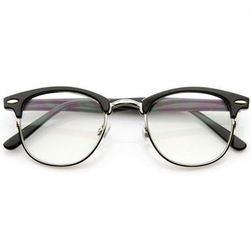 Vintage Retro Optical RX Clear Lens Half Frame Glasses + Free Gift Box + Free Shipping