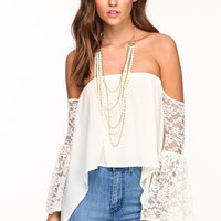 Off Shoulder Bell Lace Top - LoveCulture