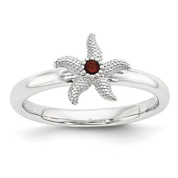 Sterling Silver Stackable Expressions Garnet 10mm Starfish Ring