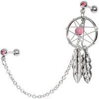 16 Gauge Pink Gem Inspire Dreamcatcher Cartilage Tragus Barbell Chain Earring | Body Candy Body Jewelry
